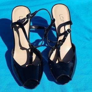 LOFT Black Patent Leather Peep Toe T-Strap Pumps